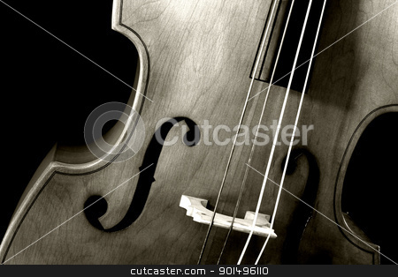 Double bass sepia stock photo, Image of a double bass or standup bass, on a black background. by © Ron Sumners