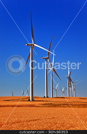 Wind Turbines Wheatfields Palouse Washington stock photo, Wind Turbines Wheatfields Ripe Wheat for Harverst Palouse Washington by William Perry