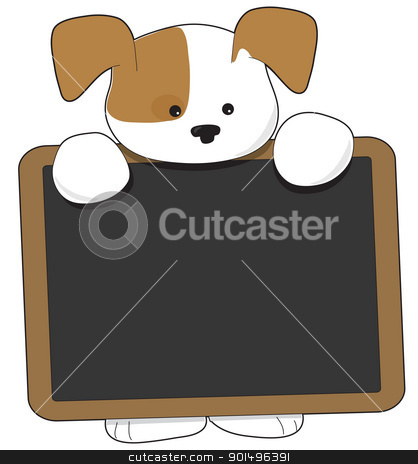 Puppy Blackboard stock vector clipart, A cute brown and white puppy is holding a wooden frame blackboard, that is nearly as big as the puppy. by Maria Bell