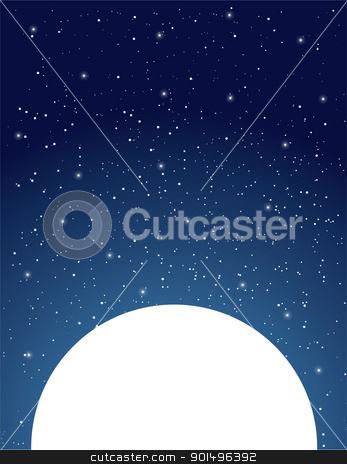Starry Sky stock vector clipart, An expansive, starry, night sky sits above a white moon. by Maria Bell
