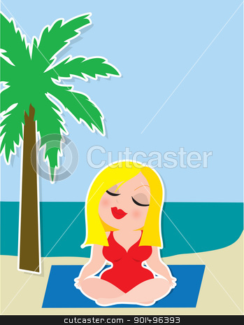 Yoga Background stock vector clipart, A blonde lady in a red swimsuit, is sitting cross legged while practicing her yoga, on the beach under a palm tree. by Maria Bell