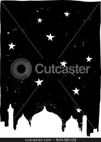 Istanbul Night stock vector clipart, Stars and mosques like the Istanbul skyline at night. by Jeffrey Thompson