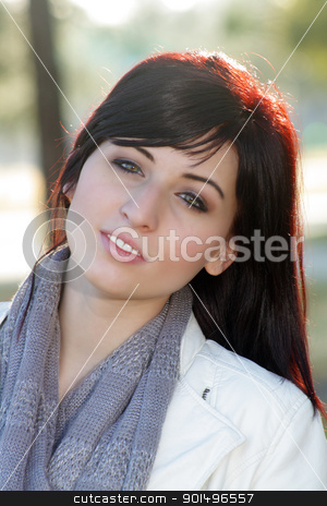 Beautiful Woman Outdoors (4) stock photo, Close-up of a beautiful young woman with auburn hair, outdoors, backlit with brilliant morning sunlight. by Carl Stewart