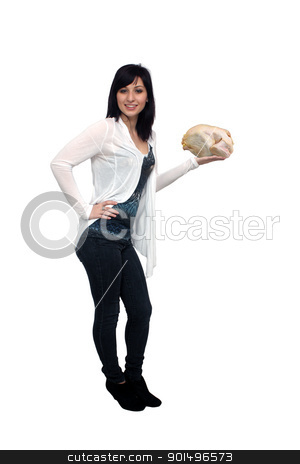 Beautiful Young Casual Hostess (3) stock photo, A full-length shot of a lovely young woman, isolated on white, holding a whole, raw chicken.  Generous copyspace. by Carl Stewart
