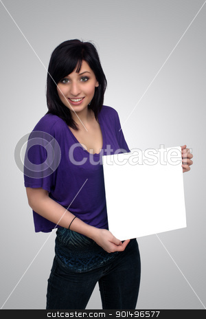 Beautiful Young Casual Hostess (7) stock photo, A full-length shot of a lovely young woman, holding a blank white card for your graphic or text.  Generous copyspace. by Carl Stewart