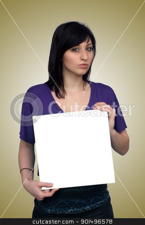 Beautiful Young Casual Hostess (8) stock photo, A full-length shot of a lovely young woman, holding a blank white card for your graphic or text.  Generous copyspace. by Carl Stewart