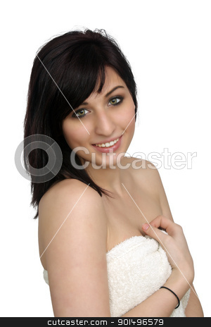 Beautiful Young Woman Wearing a Bath Towel (1) stock photo, A studio close-up of a lovely young woman wrapped in a white bath towel, isolated on a white background. by Carl Stewart