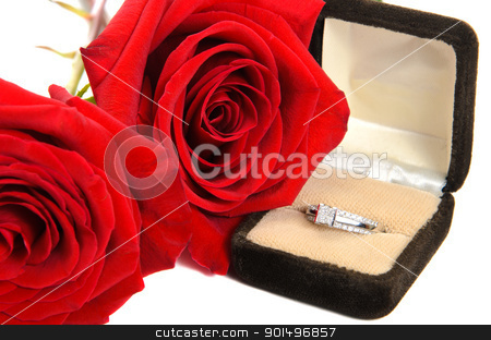 Diamond Ring Next to Two Red Roses stock photo, An engagement ring with red roses next to it, isolated against a white background. by Richard Nelson