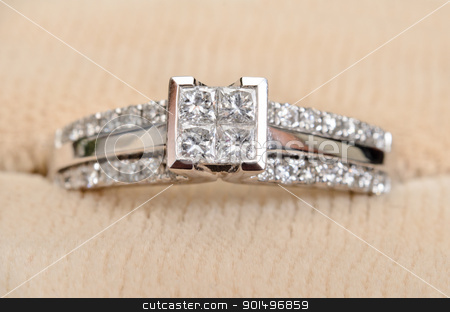 Closeup Diamond Engagement Ring stock photo, A closeup view of a diamond engagement ring, while sitting in the box. by Richard Nelson