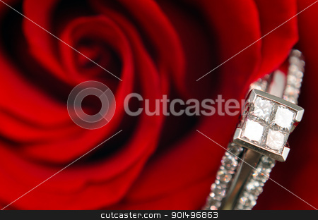 Macro Engagement Ring stock photo, A macro view of a diamond engagement ring, resting in a red rose. by Richard Nelson
