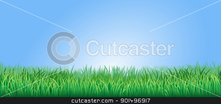 Lush green grass illustration stock vector clipart, Green grass field or lawn under a clear blue sky by Christos Georghiou