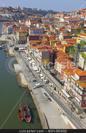Portugal. Porto city. View of Douro river embankment  stock photo, Portugal. Porto city. View of Douro river embankment in the morning by Morozova Oxana