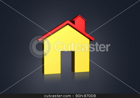 3D multi-use real estate  symbol in color background stock photo, 3D multi-use real estate  symbol in color background by dileep