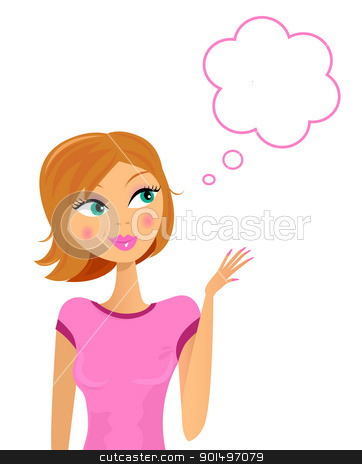 Happy smiling business woman thinking about something stock vector clipart, Business woman with speech bubble isolated on white. Vector  by Jana Guothova