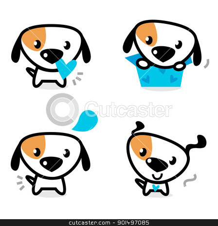 Cute blue valentine dogs set isolated on white stock vector clipart, Cute dog collection - little dogs with pink hearts. Vector Illustration.  by Jana Guothova