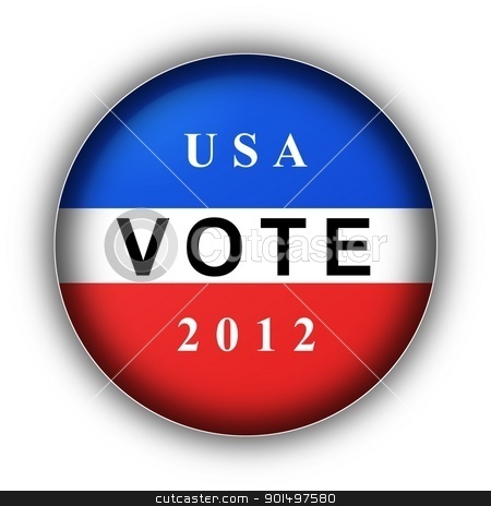 Vote Button 2012 stock photo, Red white and blue vote button for 2010 by Henrik Lehnerer