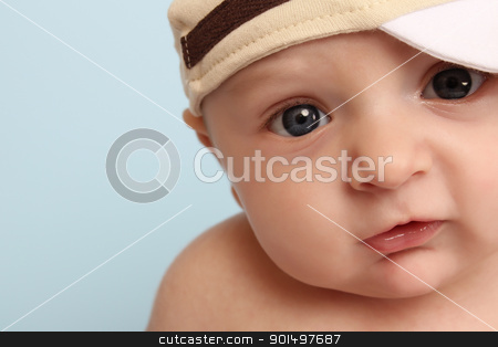 Baby boy stock photo, Ten week old baby boy wearing a hat by Vanessa Van Rensburg