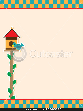 Bird House stock vector clipart, A background of a birdhouse and blue colored bird, atop a vine covered pole; includes a checkered header and footer. by Maria Bell