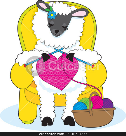 Sheep Knitting Heart stock vector clipart, A ewe is in a yellow armchair, knitting a big red heart. by Maria Bell