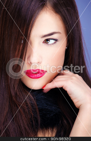 pretty woman with pelt stock photo, Portrait of a pretty woman with pelt by iMarin