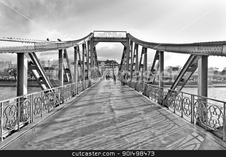 The iron bridge stock photo, The iron bridge in Frankfurt Germany. It is one of the many attractions of the city. by derejeb