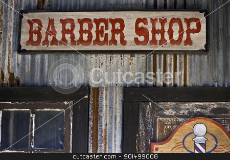 Barber Shop stock photo, Old barber shop sign. by WScott