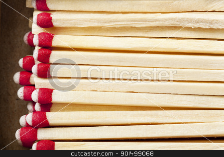 box of matches macro stock photo, box of wooden matches with red heads - macro background by Marek Uliasz
