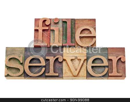 file server - conputer network concept stock photo, file server - computer network concept - isolated text in vintage wood letterpress printing blocks by Marek Uliasz