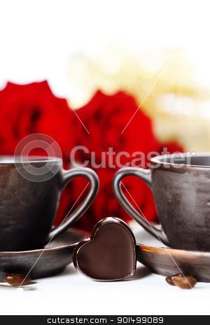 red roses and coffee for Valentine's Day stock photo, red roses and coffee for Valentine's Day by klenova