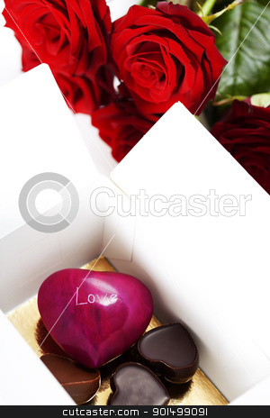red roses and hearts for Valentine's Day stock photo, red roses  and hearts (stone heart and chocolate hearts ) for Valentine's Day by klenova
