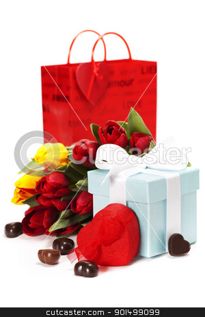 gift boxes, chocolate and fresh flowers stock photo, gift boxes, chocolate  and flowers for Valentine's day ( on white background). by klenova
