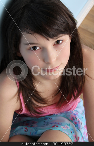 Innocent stock photo, Beautiful brunette teen displaying innocent expression by Vanessa Van Rensburg