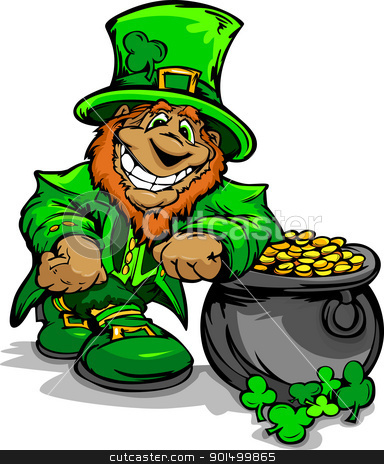 Smiling St. Patricks Day Leprechaun with Pot of Gold stock vector clipart, Happy Cartoon Leprechaun on St Patricks Day Holiday Leaning of  a Pot of Gold Vector Illustration by chromaco