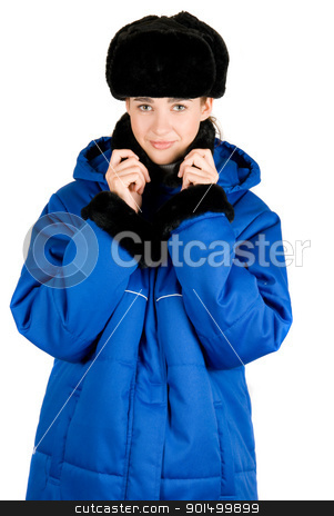blue quilted coat stock photo, Girl at blue quilted coat on a white by olinchuk