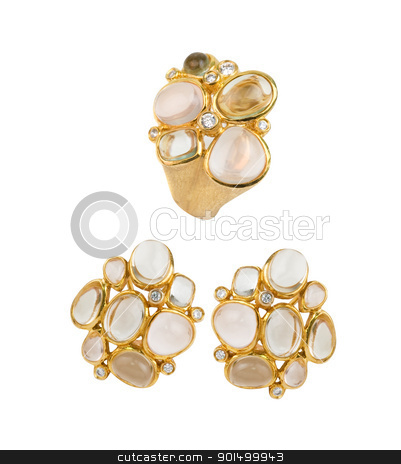 Gold ring and earring stock photo, Gold ring and earring with pink and lilac quartz, green amethyst and zircon by olinchuk