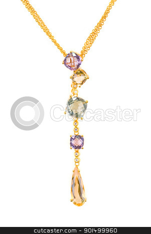 pendant stock photo, gold pendant with gems isolated on a white by olinchuk