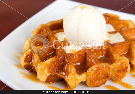 Waffle and ice cream stock photo, Tasty waffle and ice cream with cream by olinchuk