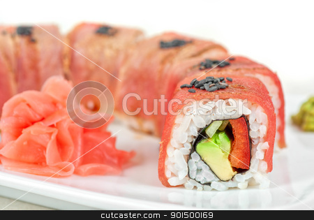 Fuji Sushi rolls stock photo, Fuji Sushi rolls made of tuna, pepper, avocado, cucumber by olinchuk