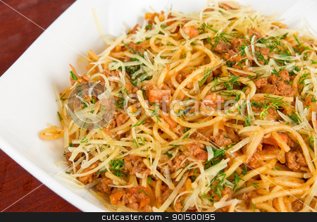 Pasta with meat stock photo, Pasta with meat and greens closeup tasty dish by olinchuk