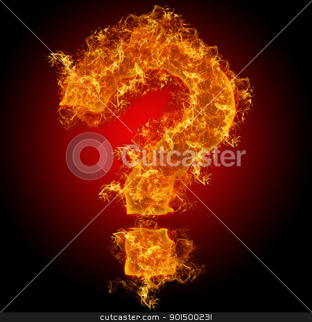 Fire sign query mark stock photo, Fire sign query mark on a black background by olinchuk