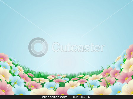 Flower meadow illustration stock vector clipart, Field or meadow with beautiful flowers and blue sky by Christos Georghiou