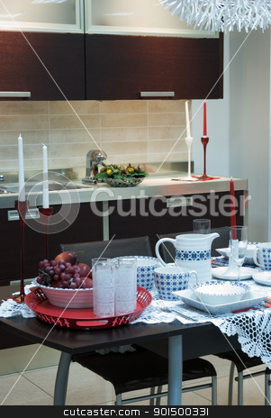 modern kitchen stock photo, Interior of modern kitchen by olinchuk