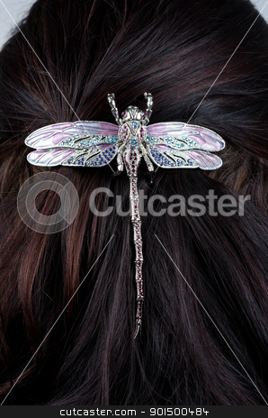 coiffure stock photo, Woman coiffure with dragonfly hairpin closeup by olinchuk