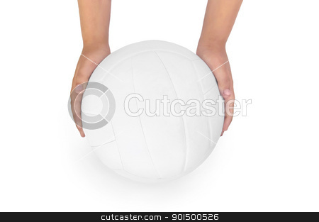 Volleyball stock photo, White volleyball ball in his hands isolated on white background by rezkrr