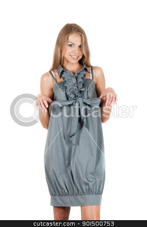beautiful blonde woman stock photo, beautiful blonde woman wearing grey dress on a white by olinchuk