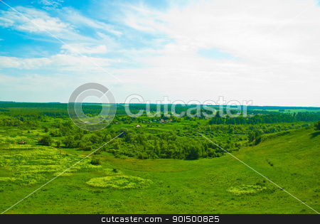 summer valley stock photo, field of summer valley with green grass by olinchuk
