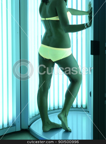 at solarium stock photo, beautiful girl closeup in swimsuit at solarium by olinchuk