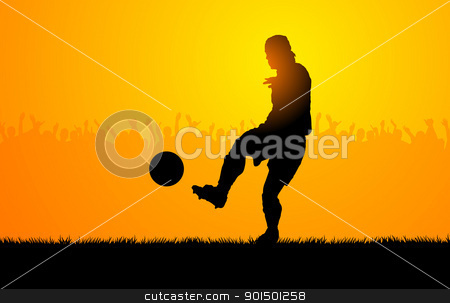Play soccer stock vector clipart, Backlighting shapes of men who play to soccer by Giordano Aita