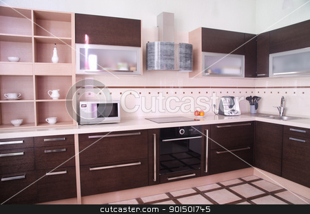 kitchen interior stock photo, photo of the modern style kitchen interior by olinchuk