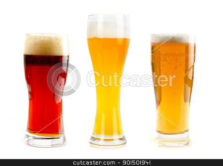 beer set stock photo, Set of different kind of beer at glasses isolated on a white background by olinchuk